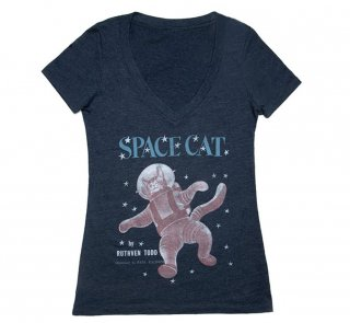 Ruthven Todd / Space Cat V-Neck Tee (Midnight Navy) (Womens)