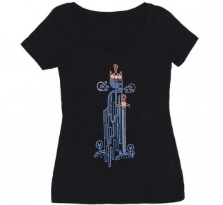 William Shakespeare / Hamlet Scoop Neck Tee (Black) (Womens)
