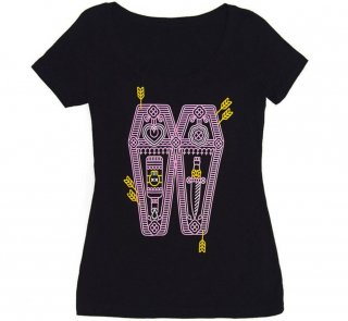 William Shakespeare / Romeo and Juliet Scoop Neck Tee (Black) (Womens)