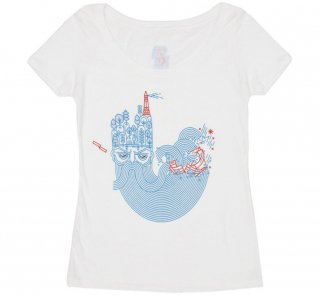 William Shakespeare / The Tempest Scoop Neck Tee (White) (Womens