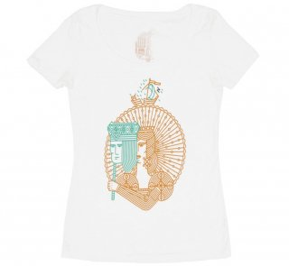 William Shakespeare / Twelfth Night Scoop Neck Tee (White) (Womens)
