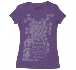 Jane Austen / Pride and Prejudice V-Neck Tee 2 (Purple) (Womens)