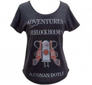 Arthur Conan Doyle / The Adventures of Sherlock Holmes Relaxed Fit Tee (Vintage Black) (Womens)