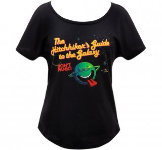 Douglas Adams / The Hitchhiker's Guide to the Galaxy Relaxed Fit Tee (Black) (Womens)