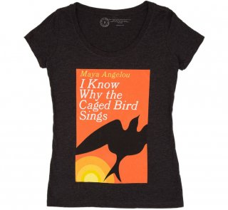 Maya Angelou / I Know Why the Caged Bird Sings Scoop Tee (Black) (Womens)