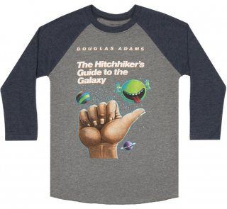 The Hitchhiker's Guide to the Galaxy Raglan Tee (Heather Grey/Navy Blue)