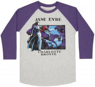 Charlotte Brontë / Jane Eyre Raglan Tee (Heather White/Purple)