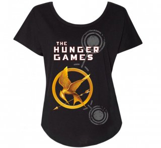 <img class='new_mark_img1' src='https://img.shop-pro.jp/img/new/icons14.gif' style='border:none;display:inline;margin:0px;padding:0px;width:auto;' />Suzanne Collins / The Hunger Games Relaxed Fit Tee (Black) (Womens)