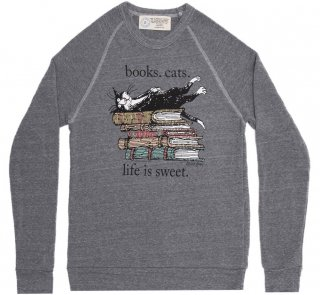 <img class='new_mark_img1' src='https://img.shop-pro.jp/img/new/icons14.gif' style='border:none;display:inline;margin:0px;padding:0px;width:auto;' />Books. Cats. Life Is Sweet. Sweatshirt (Grey) (Edward Gorey illustration)