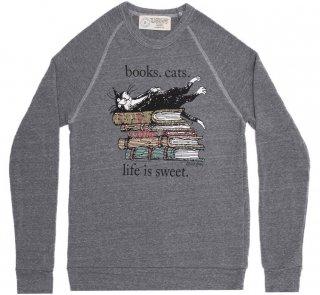 <img class='new_mark_img1' src='https://img.shop-pro.jp/img/new/icons14.gif' style='border:none;display:inline;margin:0px;padding:0px;width:auto;' />Books. Cats. Life Is Sweet. Sweatshirt (Grey) (Edward Gorey illustration)