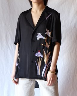 Mame :Botanical Embroidery Open-Collared Shirt