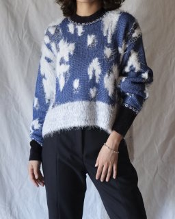Mame:Lame Jacquard Knit Pullover - BLUE