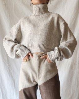 FUMIKA UCHIDA:3G Cashmere/Silk High Neck Short Sweater - OATMEAL