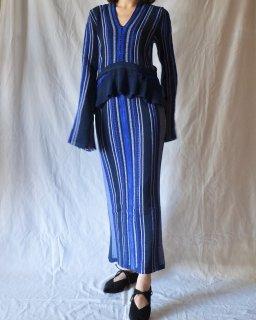 Mame:Stripe HAMAGURI Knit Peplum One-Piece