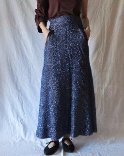Mame:Plaid Lame Tweed Long Skirt