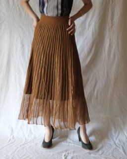 Mame:Pleated Knit Flared Skirt -BROWN