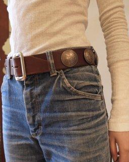 FUMIKA UCHIDA:Vintage Concho Belt - BROWN