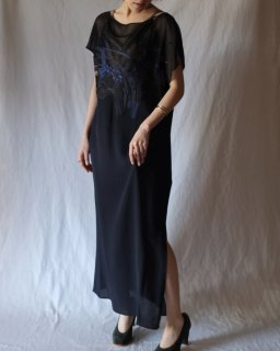 Mame:Flower Embroidery Long One-Piece