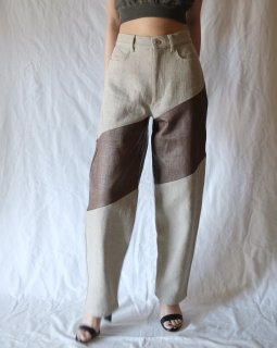 FUMIKA UCHIDA:RAFFIA×CANVAS WIDE TAPERED PANTS