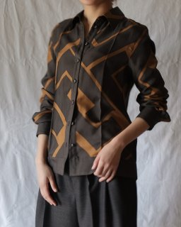 FUMIKA UCHIDA:GEOMETRY PRINT LONG-SLEEVE SHIRTS - BLK