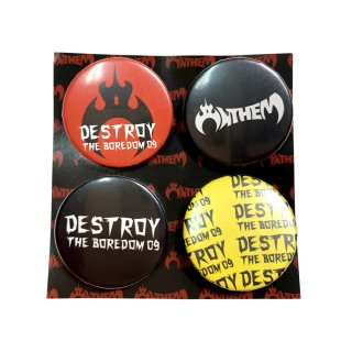2009 DESTROY THE BOREDOM 缶バッジ4つセット(黄/赤/黒)