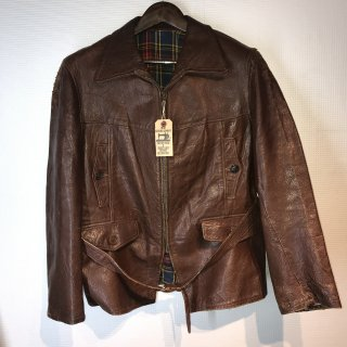 40'S Leather Car Coat Jacket