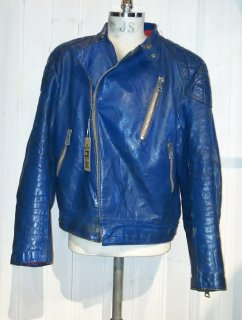 MADE IN ENGLAND Blue Double Leather Jacket Monza Type