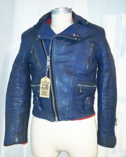 80's Blue Double Leather Jacket