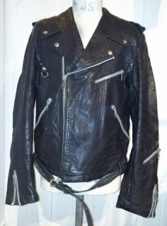 80's MEDE IN Sweden JOFAMA Studs double riders jacket DESTRUC-JACKET