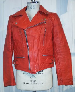 80's Red Double Leather Jacket