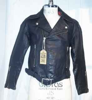 60~70's MADE IN ENGLAND Double Leather Jacket
