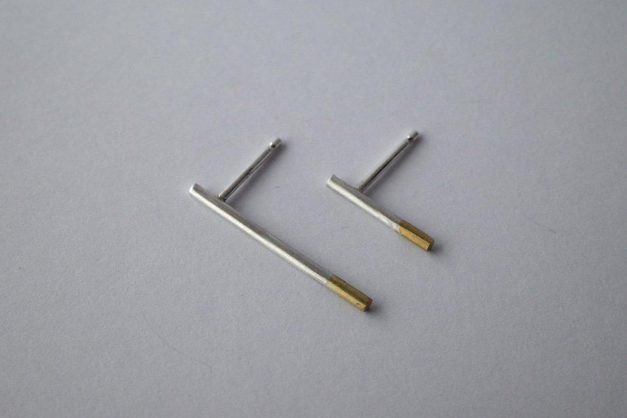 銀と真鍮の棒ピアス / 12.0mm ・18.0mm / ペア