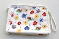 フェアトレード・ミラー刺繍 スクエアポーチ(インド) 白