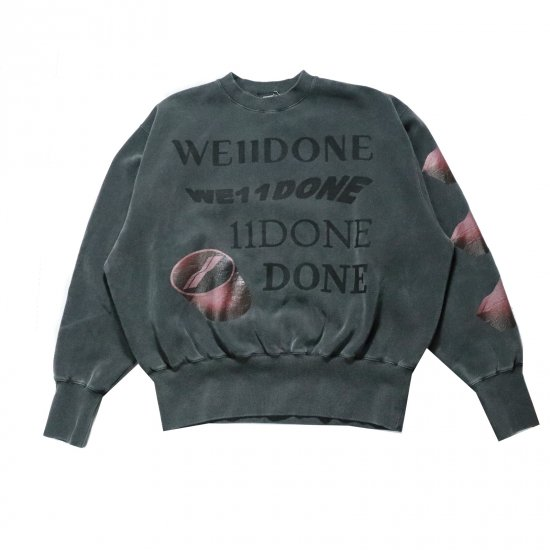 WE11DONE / CHACOAL WASHED LOGO SWEAT