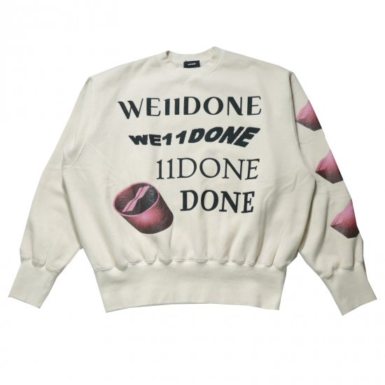 WE11DONE / IVORY WASHED LOGO SWEAT