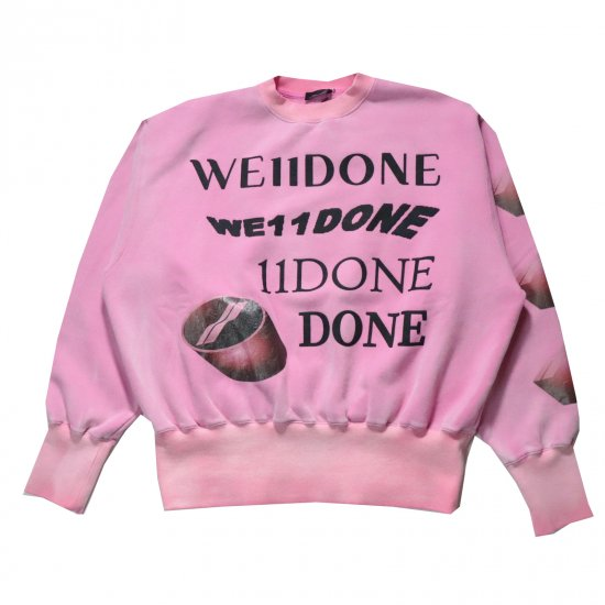 WE11DONE / PINK WASHED LOGO SWEAT