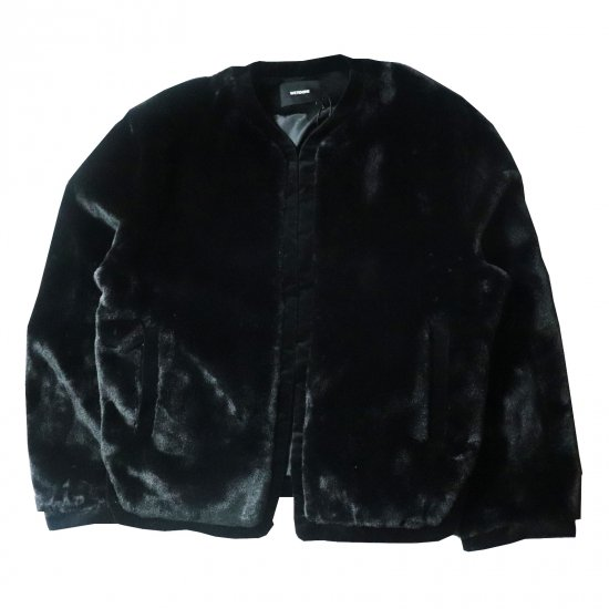 WE11DONE / BLACK MENS FAKE FUR ROUND-NECK JACKET