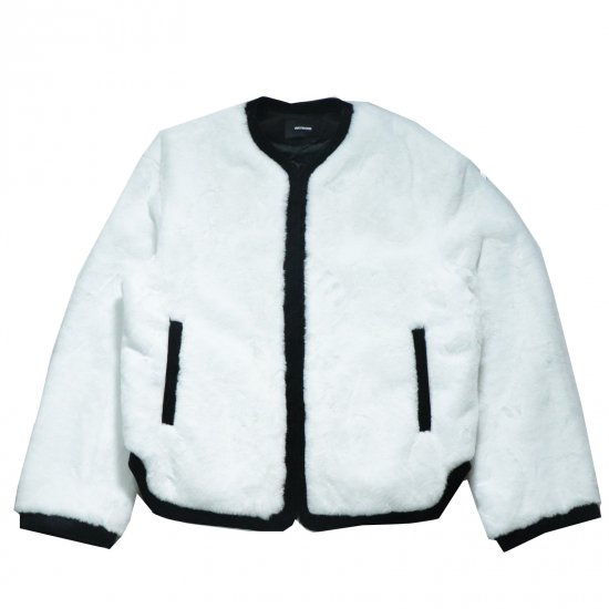 WE11DONE / WHITE MENS FAKE FUR ROUND-NECK JACKET