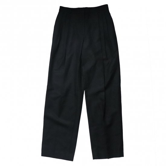 WE11DONE / BLACK THREE PIN-TUCKED LONG TROUSER