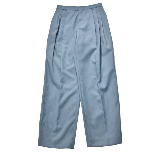 WE11DONE / BLUE THREE PIN-TUCKED WOOL BAGGY TROUSER