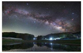 天の川の星景写真プリント(田園 A4サイズ安価版)