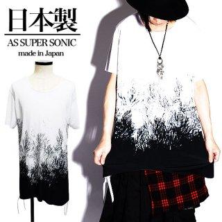 as super sonic 日本製ツリー&バイカラーカットオフロング丈半袖Tシャツ