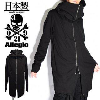 Alleglo 日本製 ボリュームネックフード指貫グローブデザインロングパーカー ブラック/黒