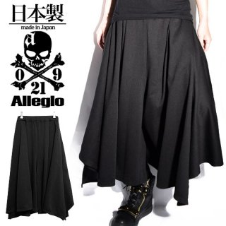 Alleglo 日本製 変形ハードドレープワイドシルエットガウチョパンツ ブラック/黒