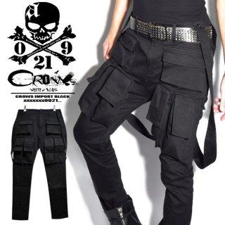 Alleglo×CROWS 変形オーバーオールガスマスクカーゴパンツ(スキニーパンツ)ブラック/黒