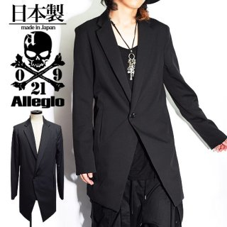 Alleglo(アレグロ) 日本製 変形ロング丈テーラードジャケット ブラック/黒