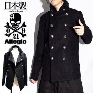 Alleglo 日本製 変形タートルネックナポレオンコート ブラック/黒