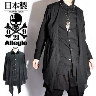 Alleglo 日本製 変形ドレープカーディガン重ね着ロング丈シャツ ブラック/黒