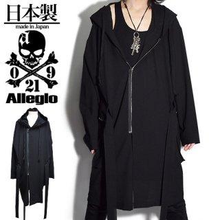 Alleglo 日本製 変形オーバーサイズZIPポケットウールジョーゼットコート  ブラック/黒