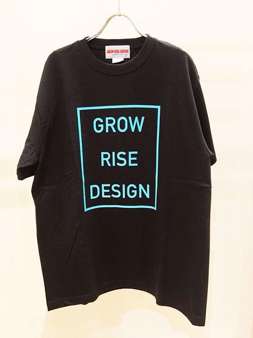 GROW RISE DESIGN スクエアロゴTシャツ(スミクロ×ライトブルー)
